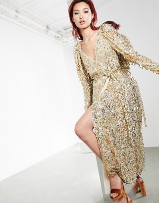 ASOS EDITION disc and teardrop sequin wrap midi dress in gold