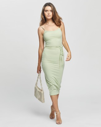 Missguided Petite - Women's Green Midi Dresses - Petite Tie Belt Cami Ribbed Midaxi Dress - Size 8 at The Iconic