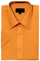 G-Style USA Men's Regular Fit Short Sleeve Solid Color Dress Shirts - 5XL/21-21.5