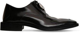 Balenciaga 35mm Leather Lace-up Shoes W/ Logo Coin