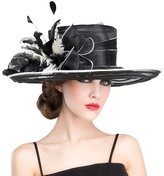 HomArt Women's Organza Kentucky Derby Wide Brim Hat Feather and Bow Topper Hat