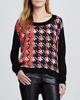 Rebecca Minkoff Houndstooth Long-Sleeve Pullover