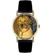 Whimsical Watches Kids' P0130081 Classic Yellow Labrador Retriever Black Leather And Goldtone Photo Watch