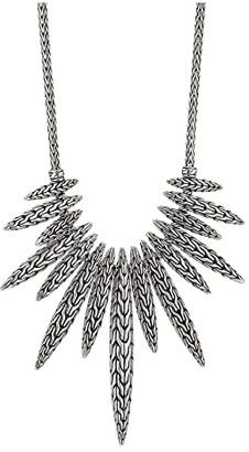 John Hardy 2.5 mm Classic Chain Spear Dangling Pendant Necklace on Mini Chain Necklace (Sterling Silver) Necklace