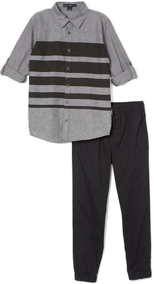 Beverly Hills Polo Club Boys' Casual Pants GREY - Gray Stripe Chambray Button-Up & Black Joggers - Toddler & Boys