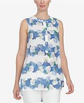 CeCe High-Low Floral-Print Blouse