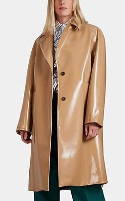 PLAN C Women's Faux-Leather Long Coat - Brown