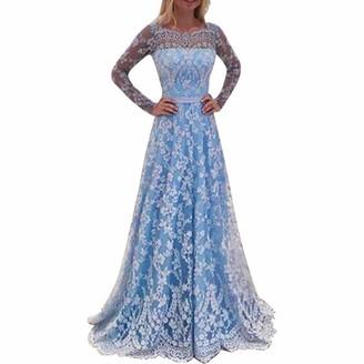 MRULIC Spring Fashion Women Vintage Lace Print Ruched Evening Printing Party Prom Swing Dress Bride Bridesmaid Dress(Blue UK-18/CN-5XL)
