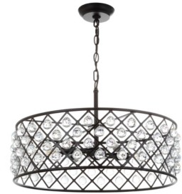 """Jonathan Y Designs Gabrielle 23"""" Crystal, Metal Led Pendant Oil-Rubbed"""