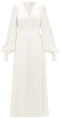 Roksanda Teruko Balloon-sleeve Silk-charmeuse Dress - Womens - Ivory