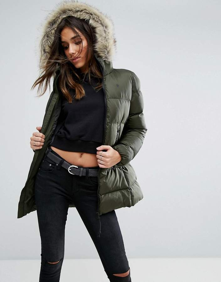 G Star G-Star Whistler Padded Jacket with Faux Fur Hood