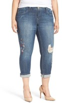 Democracy Plus Size Women's Ripped Skinny Crop Jeans