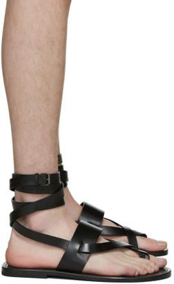 Saint Laurent Black Culver Ankle Strap Sandals