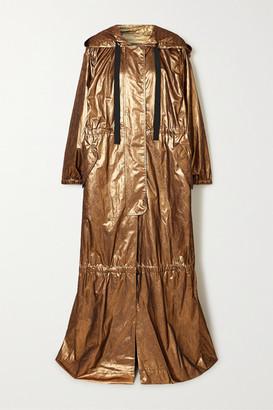 Dries Van Noten Oversized Hooded Tiered Metallic Silk-blend Jacquard Coat - Gold