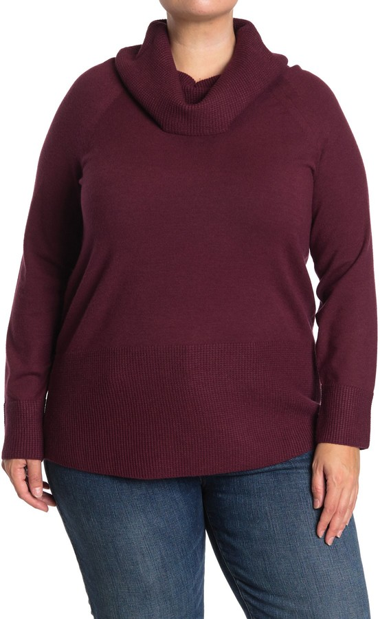 Cyrus Cowl Neck Pullover Sweater (Plus Size)