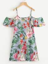 Random Jungle Print Striped Dress