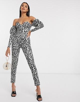 Asos DESIGN off shoulder scuba jumpsuit in leopard print