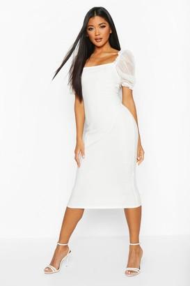 boohoo Square Neck Mesh Sleeve Midi Dress