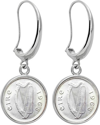 American Coin Treasures Threepence Silvertone Earrings