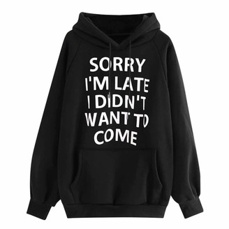 DOMBX Women's Oversized Long Sleeve Hooded Hoodies Hoody Slogan Letter Print Pullover Sweatshirt Jumper with Kangaroo Pockets Womens Casual Fashion Cotton Linen Loose Tunic Tops Blouse T-Shirt Black