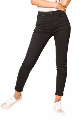 Nina Carter Women's Skinny Fit Jeans High Waist Stretch Jeans Washed Pleated Look Jeans Stylish Trousers Ankle Length Used Look Destroyed Five Pocket Style - - L