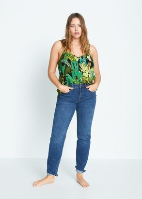 MANGO Tropical print top