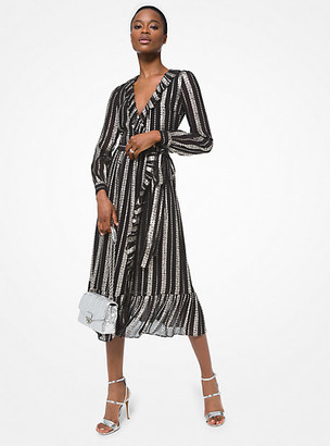Michael Kors Metallic Jacquard Ruffled Wrap Dress