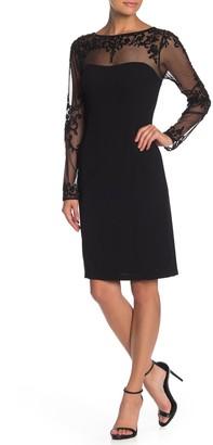 Marina Long Sleeve Beaded Shift Dress