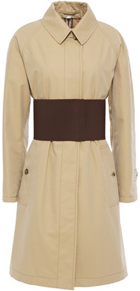 Burberry Belted Leather-trimmed Cotton-gabardine Trench Coat