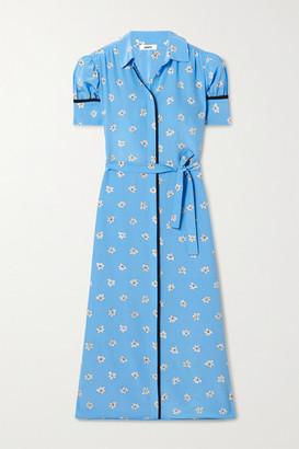 Jason Wu Belted Floral-print Silk Crepe De Chine Midi Shirt Dress - Blue