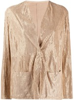 Emporio Armani metallic-striped collarless jacket