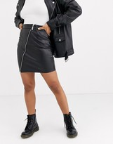 Noisy May zip leather skirt