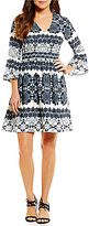 Eliza J 3/4 Sleeve V-Neck Bell Sleeve Printed Fit & Flare Dress