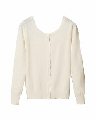Yaott Women's Lightweight Crew Neck Cardigan Knit Basic Slim Long Sleeve Sweater White XXL