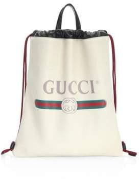 Gucci Logo Suede Drawstring Bag