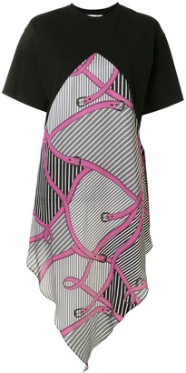 MSGM belt print asymmetric T-shirt dress