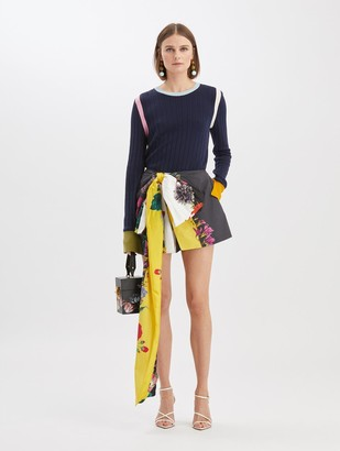 Oscar de la Renta Floral Stripe Bow Shorts
