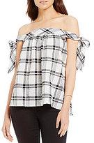 M.S.S.P. Off The Shoulder Plaid Cotton Top