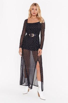 Nasty Gal Womens Dot What I Want Mesh Midi Dress - black - 6