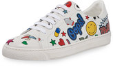 Anya Hindmarch Stickers Low-Top Leather Sneaker, White
