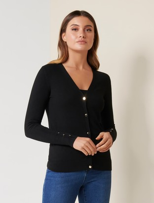 Forever New Mila Button-Up Cardigan - Black - s