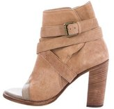 Brunello Cucinelli Suede Peep-Toe Ankle Boots