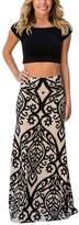 FIYOTE Women Fashion Multicolored Boho Print High Waisted Beach Maxi Skirts