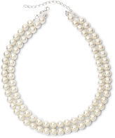 JCPenney Vieste Silver-Tone Pearlized Glass Bead 2-Row Necklace