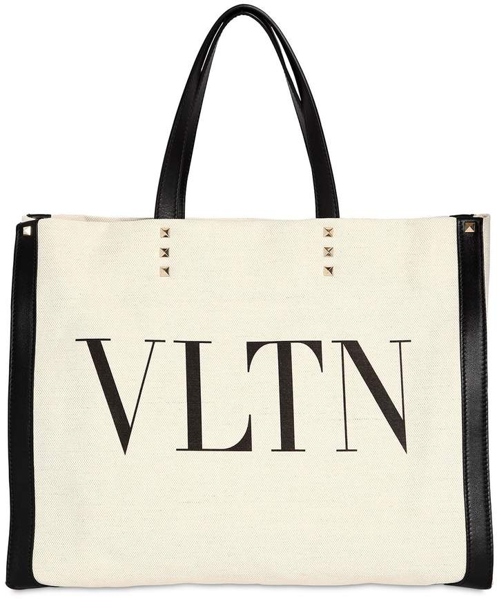 Valentino Printed Logo Tote Bag W/ Leather Details
