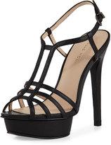 Pelle Moda Marble Leather Strappy Platform Sandal, Black