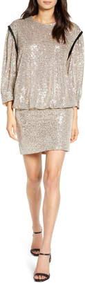 7 For All Mankind Sequin Long Sleeve Blouson Minidress