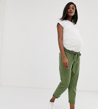 ASOS DESIGN Maternity washed soft twill tie waist casual pants with under the bump waistband