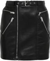 Saint Laurent Buckled Textured-leather Mini Skirt - Black