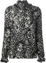 Saint Laurent leopard print ruffle blouse - women - Viscose - 36